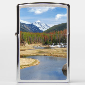 Winding Colorado River With Mountains and Pines Zippo Lighter