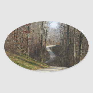 Winding Country Lane Oval Sticker