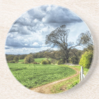 Winding Country Path HDR Beverage Coaster