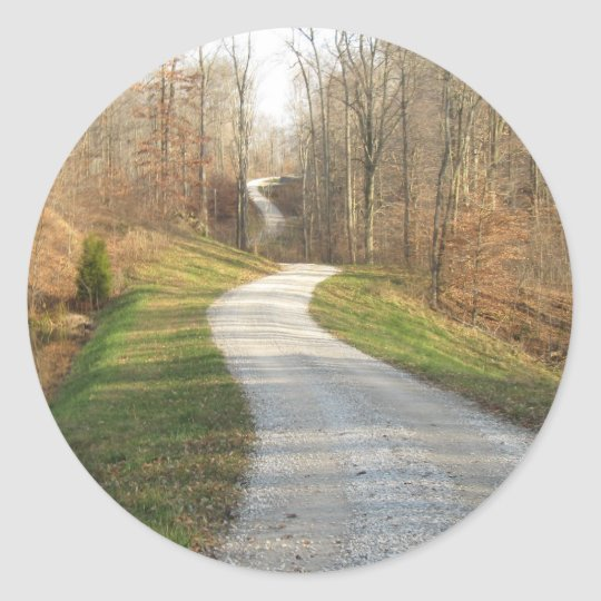 Winding Country Road Classic Round Sticker