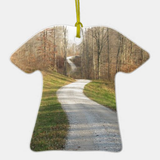 Winding Midwestern Country Road Double-Sided T-Shirt Ceramic Christmas Ornament