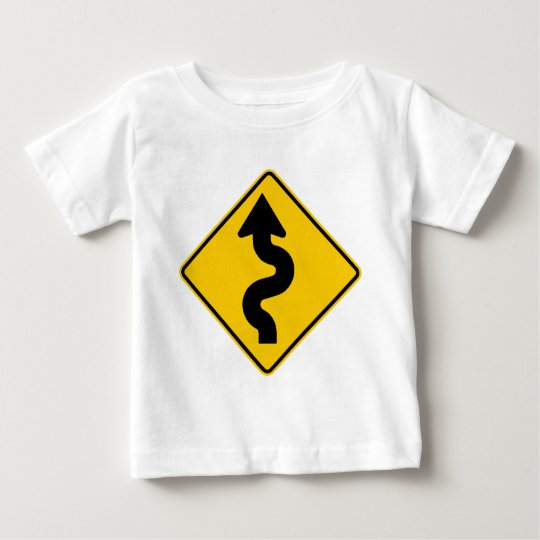 Winding Road Ahead Highway Sign Baby T-Shirt