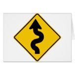 Winding Road Ahead Highway Sign Card