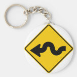 Winding Road Ahead Highway Sign Keychains