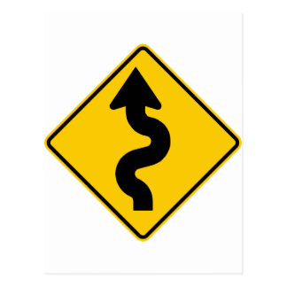 Winding Road Ahead Highway Sign Postcard