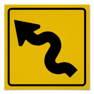 Winding Road Ahead Highway Sign Poster