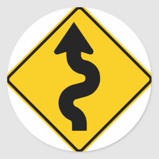 Winding Road Ahead Highway Sign Round Sticker