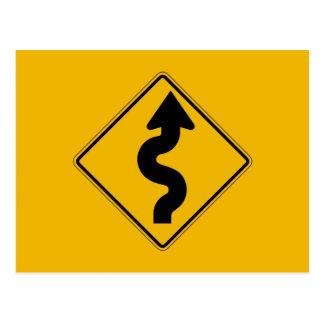 Winding Road Left, Traffic Warning Sign, USA Postcard