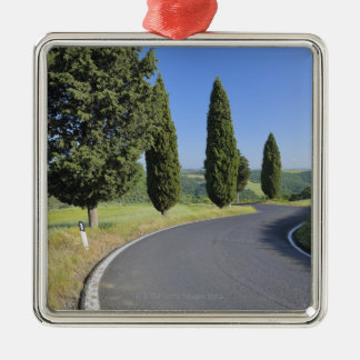 Winding Road Lined with Cypress Trees, Val Metal Ornament