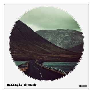 Winding Road Mountain Landscape Circle Window Room Decal