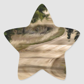 Winding Road through the Trees Star Sticker