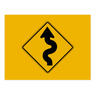 Winding Road, Traffic Warning Sign, USA Postcard