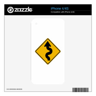 Winding Road, Traffic Warning Sign, USA Skin For iPhone 4S