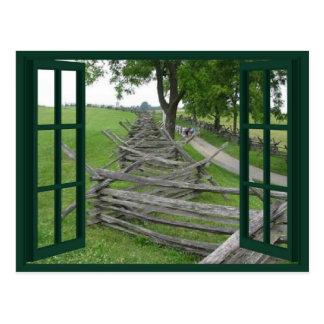 Winding Split Rail Fence Scenic Window Postcard