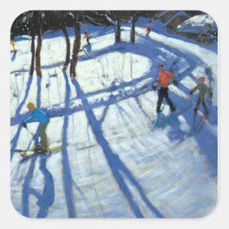 Winding Trail Morzine Square Sticker