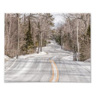 Winding Winter Road in Door County Photo Print