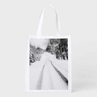 Winding Wintry Road Reusable Grocery Bag