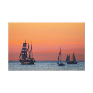 Windjammer and sunset on the Baltic Sea Canvas Print
