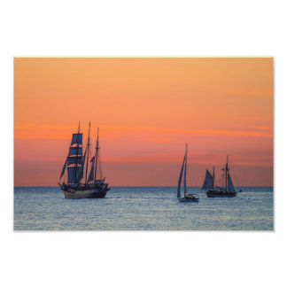 Windjammer and sunset on the Baltic Sea Photo Print