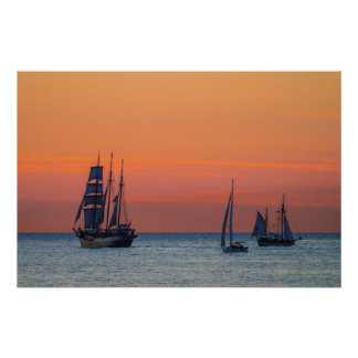 Windjammer and sunset on the Baltic Sea Poster
