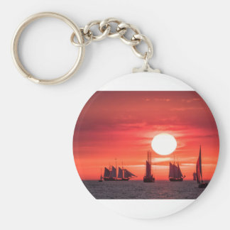 Windjammer in sunset light on the Baltic Sea Basic Round Button Keychain