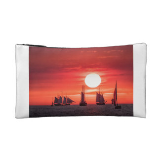 Windjammer in sunset light on the Baltic Sea Cosmetic Bag