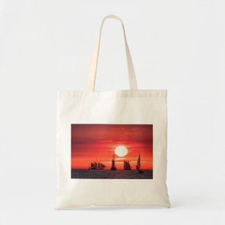 Windjammer in sunset light on the Baltic Sea Tote Bag