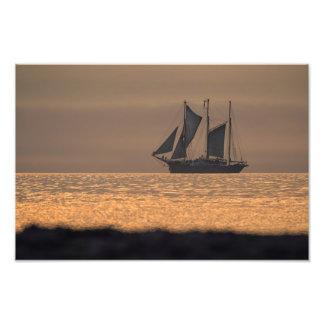 Windjammer on sunset light photo print