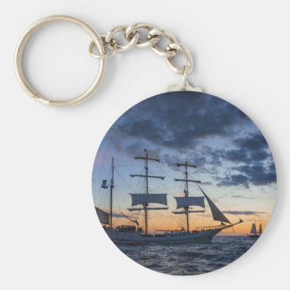 Windjammer on the Baltic Sea Basic Round Button Keychain