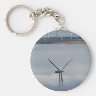 Windmill Above the Fog Basic Round Button Keychain