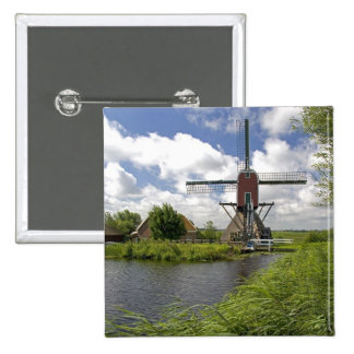 Windmill along a canal east of Leiden in the Pinback Button