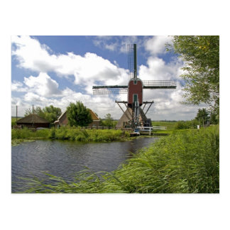 Windmill along a canal east of Leiden in the Postcard