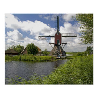 Windmill along a canal east of Leiden in the Poster