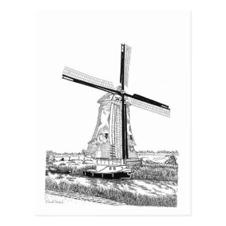 Windmill and Boat - The Netherlands Postcard