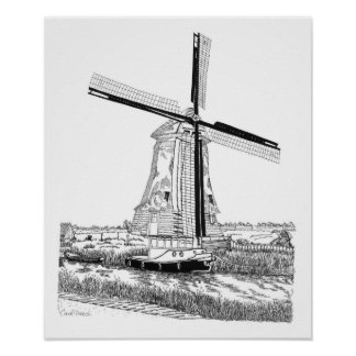 Windmill and Boat - The Netherlands Poster