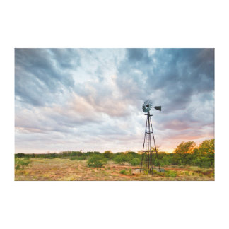 Windmill And Clouds At Sunset Gallery Wrapped Canvas