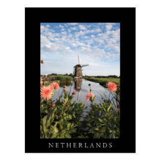 Windmill and flowers, Holland vertical black card