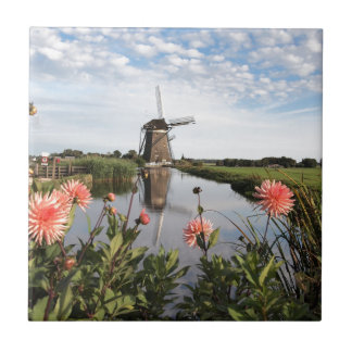 Windmill and flowers in the Netherlands photo tile