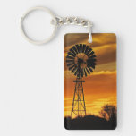 Windmill and Sunset, William Creek, Oodnadatta Double-Sided Rectangular Acrylic Keychain