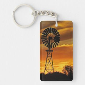 Windmill and Sunset, William Creek, Oodnadatta Double-Sided Rectangular Acrylic Keychain