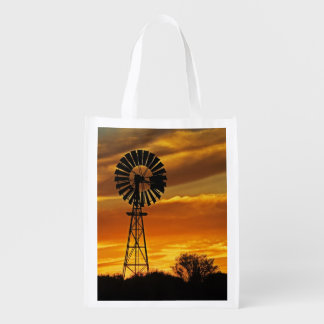 Windmill and Sunset, William Creek, Oodnadatta Reusable Grocery Bag