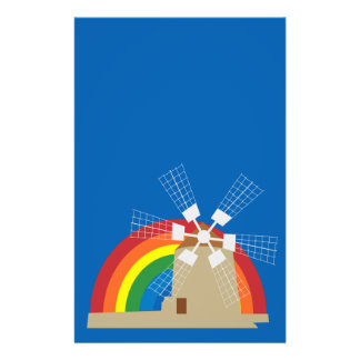 Windmill at a rainbow background flyer