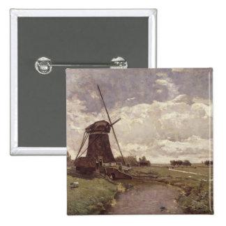 Windmill at Leidschendam Pinback Button