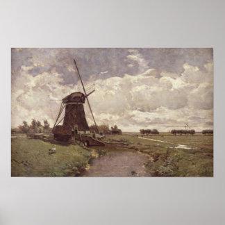 Windmill at Leidschendam Poster