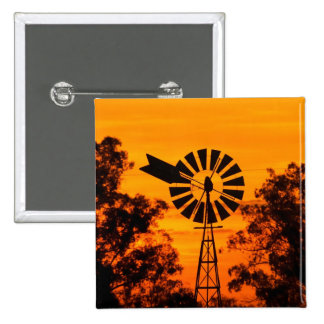 Windmill at Sunset, Australia 2 Inch Square Button
