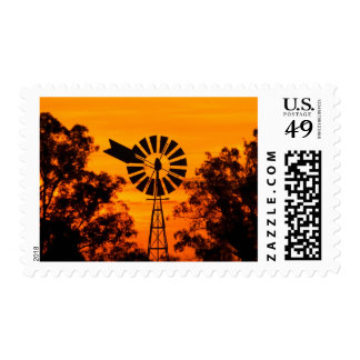 Windmill at Sunset, Australia Postage Stamp