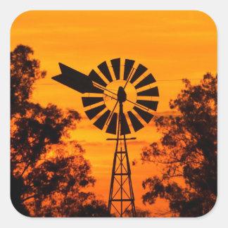 Windmill at Sunset, Australia Square Sticker