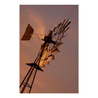 WINDMILL AT SUNSET IN RURAL QUEENSLAND AUSTRALIA POSTER