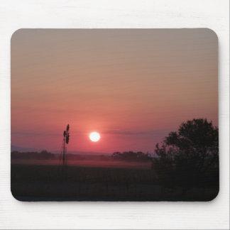 Windmill at sunset mousepad