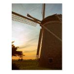 Windmill at sunset postcard